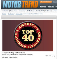 Read Motor Trends' Article - Top 40 New Cars