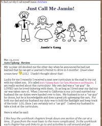 Screen Capture of Jamin's Website