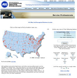 ASE Blue Seal Shop Locator