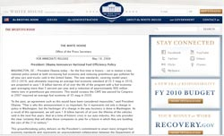 Press Release at WhiteHouse.gov