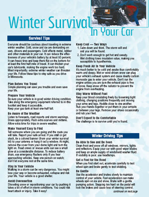 Winter Survival in Your Car by the Minnesota Dept of Public Safety