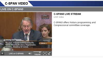 Toyota Congressional Hearing on C-SPAN