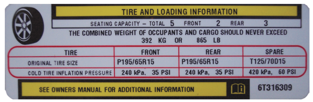 Tire Placard Example - Image © Rolling Hills Publishing/Auto Upkeep